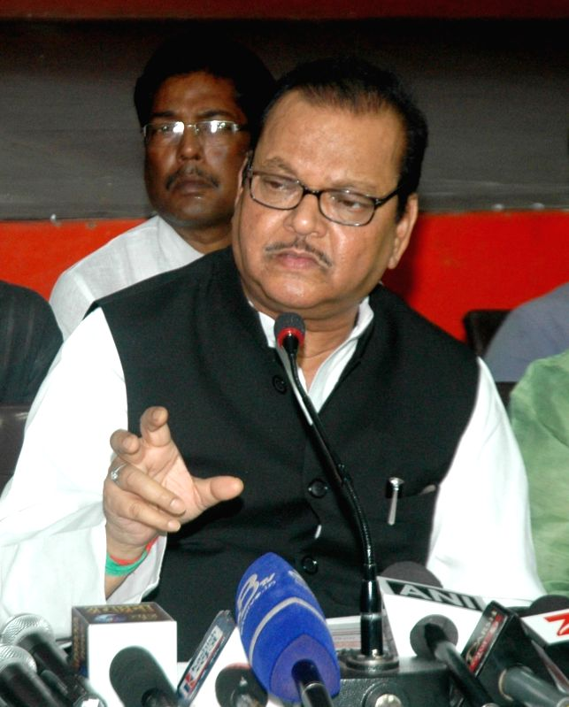 Congress leader Subodh Kant Sahay addresses a press conference in Patna on May 20, 2017.