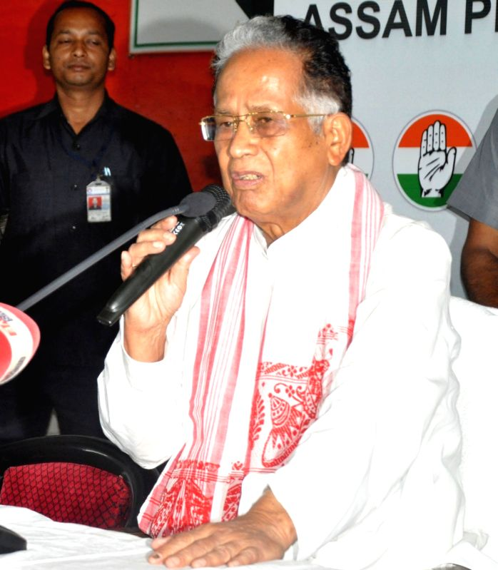 Congress leader Tarun Gogoi addresses a  press conference in Guwahati, on May 25, 2016.