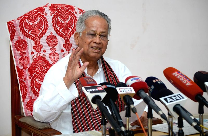 Congress leader Tarun Gogoi addresses a press conference in Guwahati on April 24, 2017.
