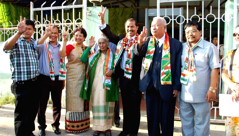 Congress leader Vincent H Pala celebrates after winning Shillong Lok Sabha seat in Shillong on May 16, 2014.