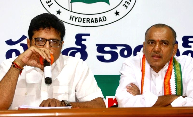Congress leaders D. Sridhar Babu and K. Venkata Ramana Reddy during a press conference, in Hyderabad on July 30, 2018.