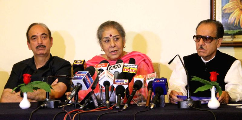 Congress leaders Ghulam Nabi Azad, Ambika Soni and Jammu and Kashmir Congress chief Saif-ud-Din Soz during a press conference in Jammu on July 20, 2014. The party has decided to not to forge any ...