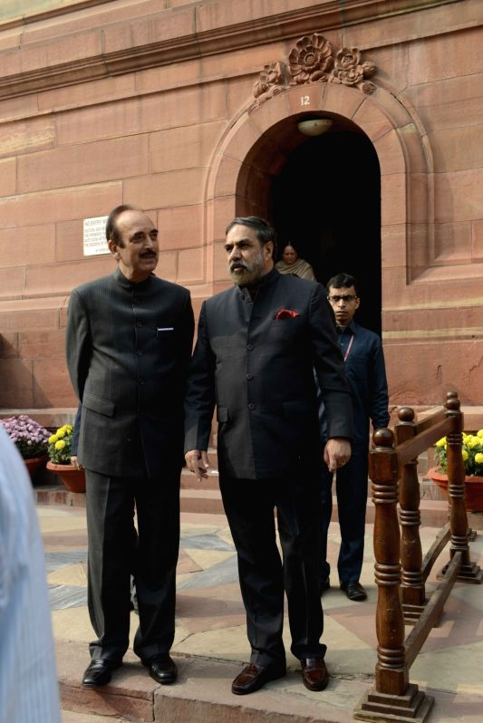 Congress leaders Ghulam Nabi Azad and Anand Sharma at the Parliament House in New Delhi, on Dec 8, 2015. - Anand Sharma
