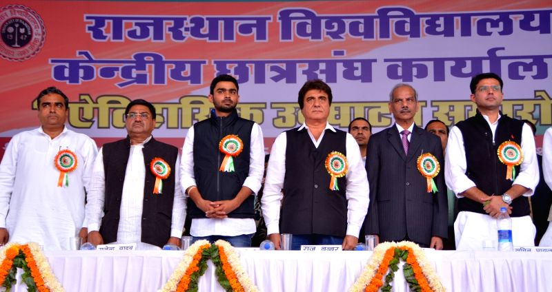 Congress leaders including Sachin Pilot and Raj Babbar during a programme organised at University of Rajasthan in Jaipur, on Dec 7, 2015.