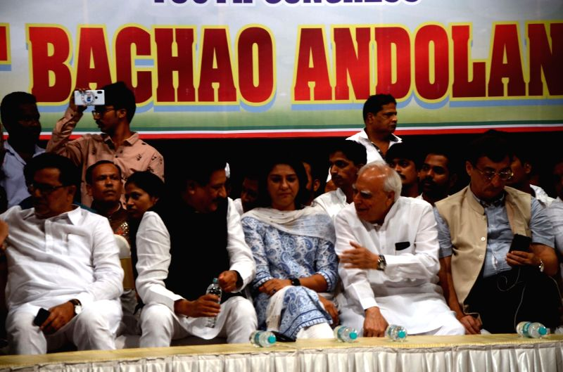 "Congress leaders Prithviraj Chavan, Priya Dutt and Kapil Sibal during ""Bharat Bachao Andolan"", in Mumbai on July 21, 2018. - Priya Dutt"