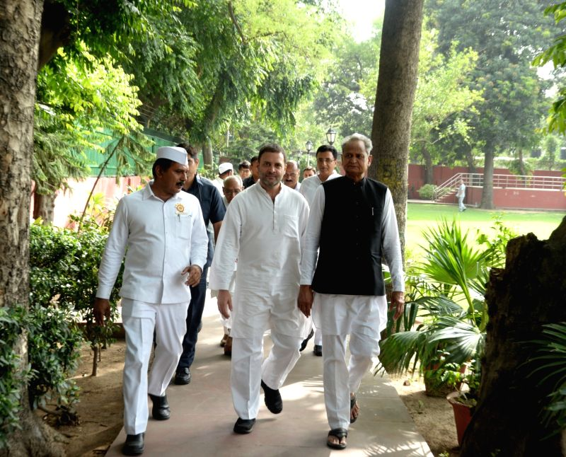Congress leaders Randeep Singh Surjewala, Rahul Gandhi and Ashok Gehlot arrive to interact with the leaders of Seva Dal, in New Delhi on June 11, 2018. - Randeep Singh Surjewala and Rahul Gandhi