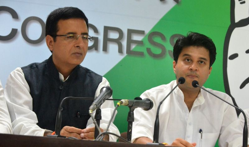 Congress leaders Randeep Surjewala and Jyotiraditya Scindia during a press conference in New Delhi on May 16, 2017.