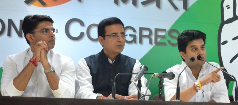Congress leaders Sachin Pilot, Randeep Surjewala and Jyotiraditya Scindia during a press conference in New Delhi on May 16, 2017.