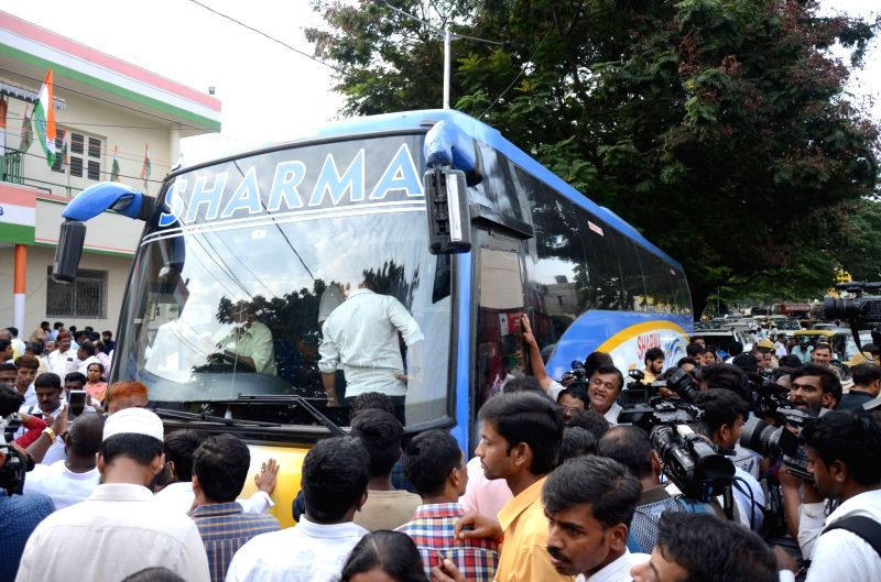 Congress leaders who won in the recently concluded Karnataka Assembly polls board a bus to a five-star resort in Bengaluru on May 16, 2018.