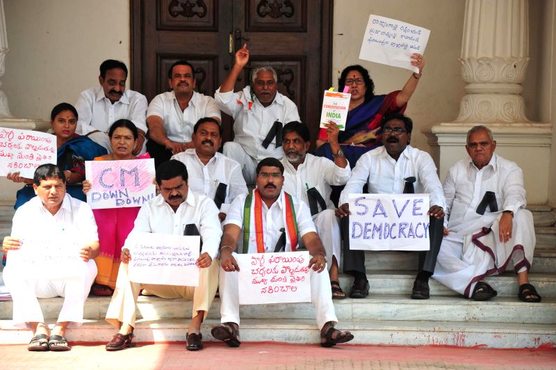 Congress legislators, who were suspended from Telangana Legislative Assembly for a day, stage a demonstration in Hyderabad on Nov 18, 2014.
