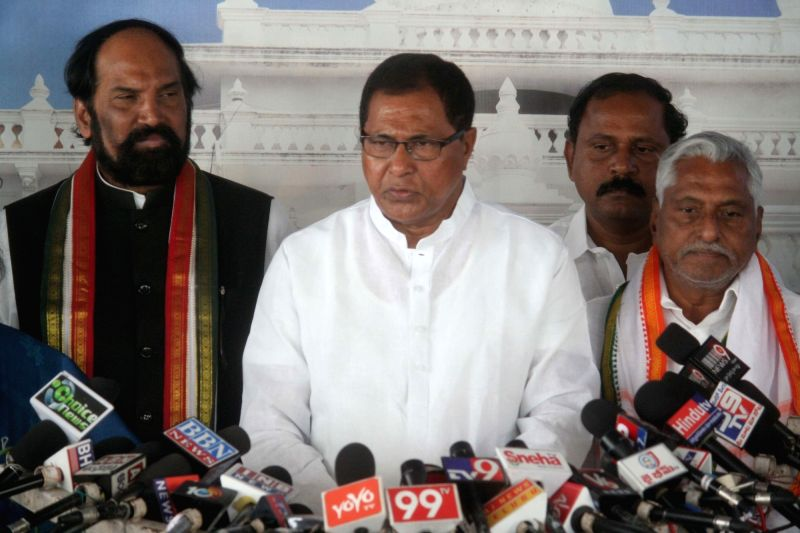 Congress MLAs Kunduru Jana Reddy, Uttam Kumar Reddy and T. Jeevan Reddy, who were suspended from the Telangana Assembly for the entire Budget session, talk to the press in Hyderabad on ... - Kunduru Jana Reddy, Uttam Kumar Reddy and T. Jeevan Reddy