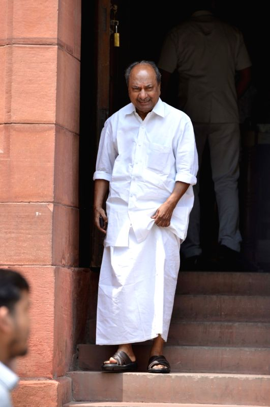 Congress MP A. K. Antony at Parliament, in New Delhi on Aug 9, 2018.
