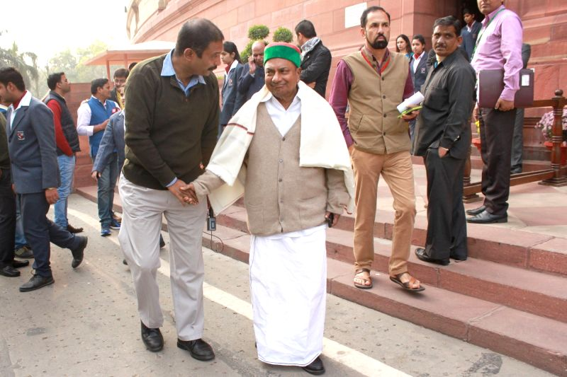 Congress MP AK Antony at the Parliament in New Delhi on Dec 10, 2015.