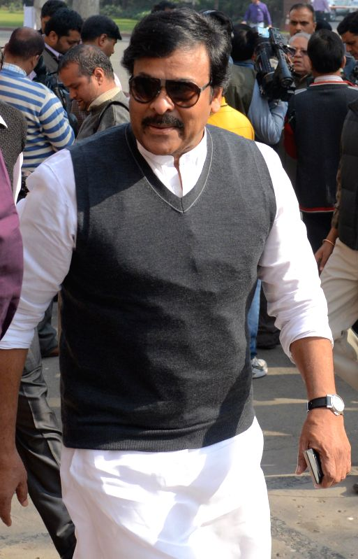 Congress MP and actor Chiranjeevi at the Parliament in New Delhi, on Nov 27, 2014. - Chiranjeevi