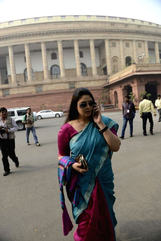 Congress MP Nagma at the Parliament House in New Delhi, on Dec 8, 2015. - Nagma