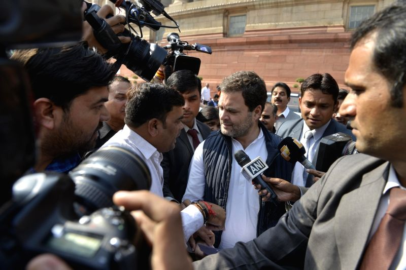 Congress MP Rahul Gandhi talks to the press at Parliament on Feb 1, 2018. - Rahul Gandhi