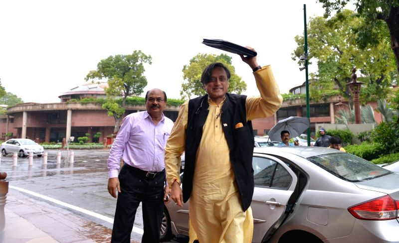 Congress MP Shashi Tharoor arrives at Parliament, in New Delhi on July 26, 2018. - Shashi Tharoor