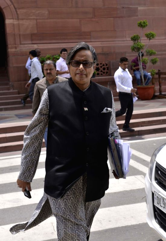 Congress MP Shashi Tharoor at Parliament on Aug 11, 2017. - Shashi Tharoor