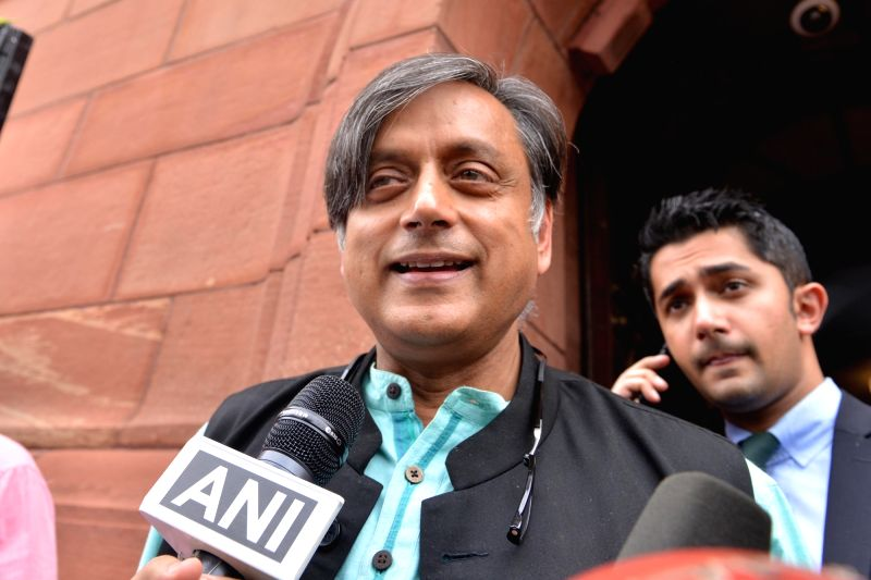 Congress MP Shashi Tharoor talks to media at Parliament, in New Delhi, on July 20, 2018. - Shashi Tharoor