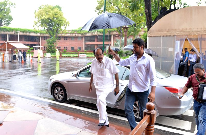Congress MP Veerappa Moily arrives at Parliament, in New Delhi on July 26, 2018.
