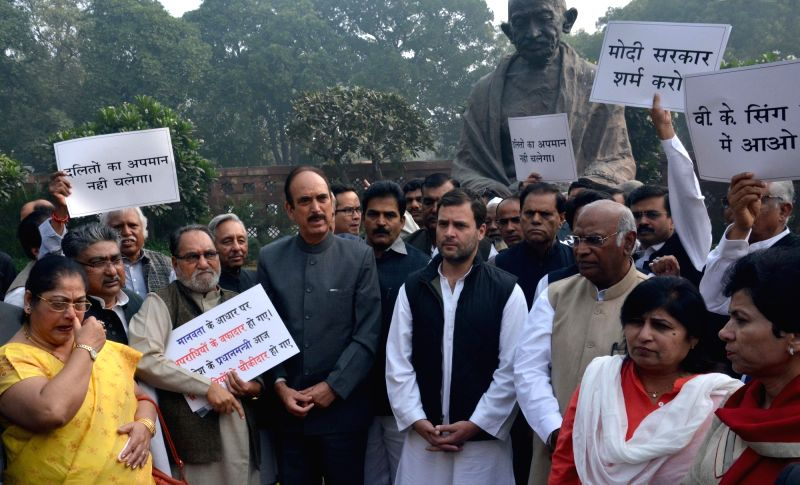 Congress MPs including party vice president Rahul Gandhi,  Leader of the Congress parliamentary party in Lok Sabha Mallikarjun Kharge and Leader of the Congress in Rajya Sabha Gulam Nabi ... - Rahul Gandhi