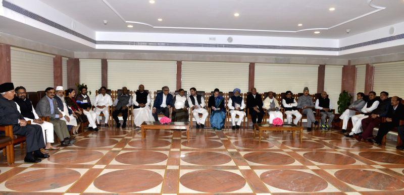 Congress Parliamentary Party Chairman Sonia Gandhi, party president Rahul Gandhi, party leader Manmohan Singh, Nationalist Congress Party chief Sharad Pawar, Rebel JD(U) leader Sharad ... - Sonia Gandhi, Rahul Gandhi, Manmohan Singh and Sharad Yadav