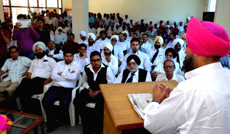 Congress Party candidate Partap Singh Bajwa during a meeting with bar association members in Gurdaspur, Punjab on April 26, 2014.