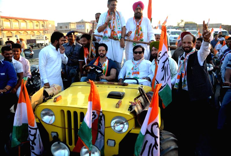 Congress Party candidate Partap Singh Bajwa during a road show in Batala, Punjab on April 26, 2014.