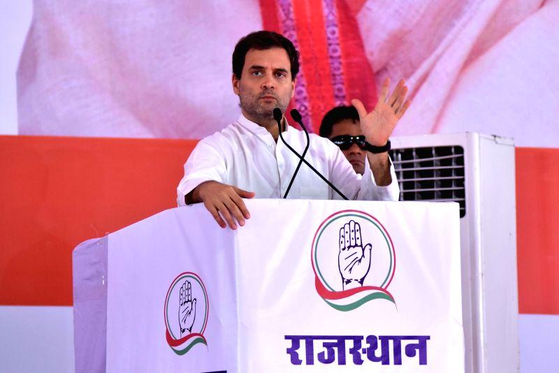Congress President Rahul Gandhi addresses a public meeting at Ram Lila Madain in Jaipur on Aug 11, 2018. - Rahul Gandhi