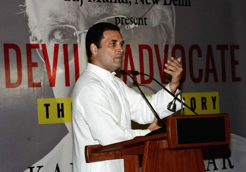 "Congress president Rahul Gandhi addresses during the book release titled ""Devil's Advocate"" authored by journalist Karan Thapar in New Delhi on July 25, 2018. - Rahul Gandhi"