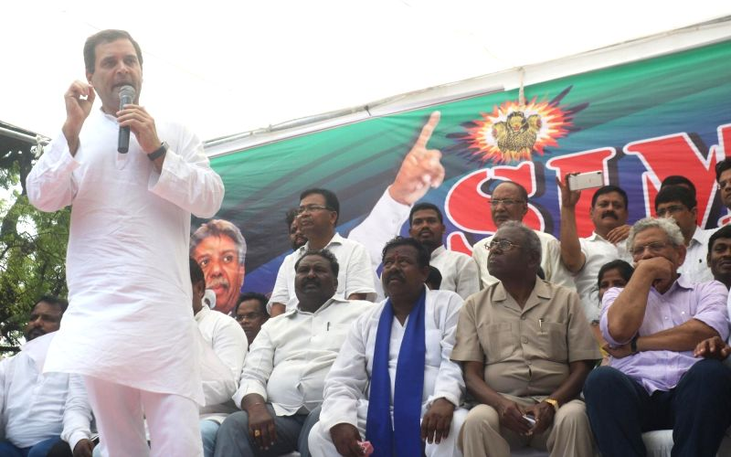 Congress President Rahul Gandhi addresses during a protest organised over the SC/ST Atrocities Bill, at Jantar Mantar in New Delhi on Aug 9, 2018. - Rahul Gandhi