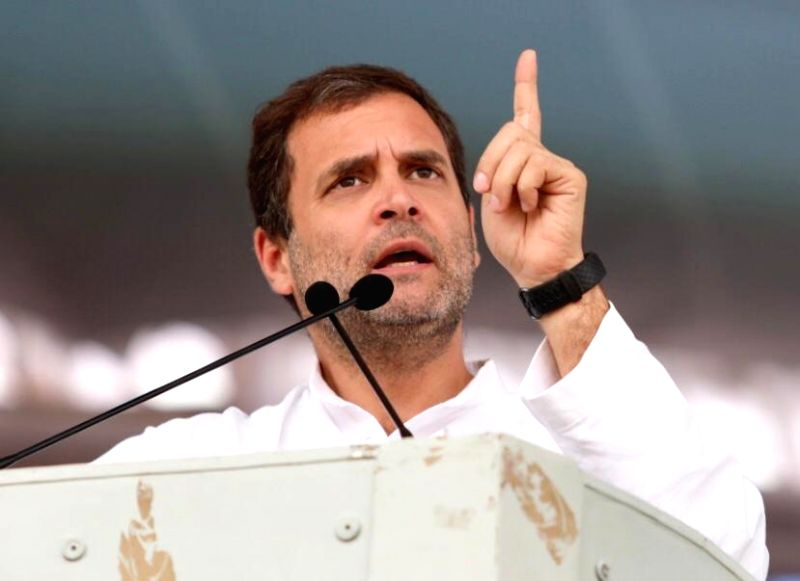 Congress president Rahul Gandhi addresses during a public meeting in Kodad of Telangana's Suryapet district