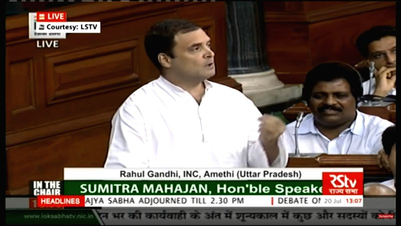 Congress President Rahul Gandhi addresses in Lok Sabha in New Delhi on July 20, 2018. - Rahul Gandhi