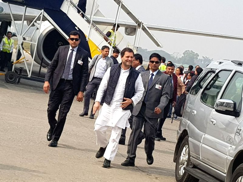 Congress President Rahul Gandhi arrives at Lokpriya Gopinath Bordoloi International airport (LGBI) in Guwahati on Jan 30, 2018. - Rahul Gandhi