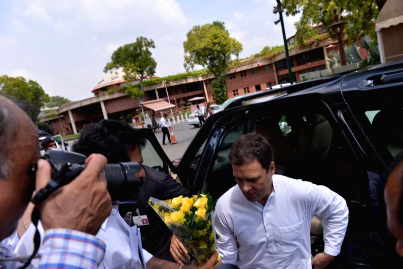 Congress president Rahul Gandhi arrives at Parliament, in New Delhi on July 18, 2018. - Rahul Gandhi