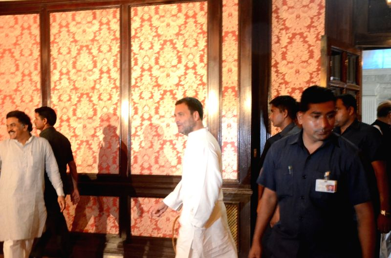 Congress president Rahul Gandhi arrives to for a press conference, in Mumbai on June 13, 2018. - Rahul Gandhi
