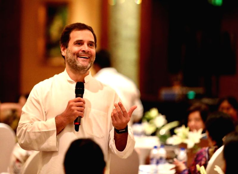 Congress President Rahul Gandhi during an interaction with CEOs, in Hyderabad on Aug 14, 2018. - Rahul Gandhi