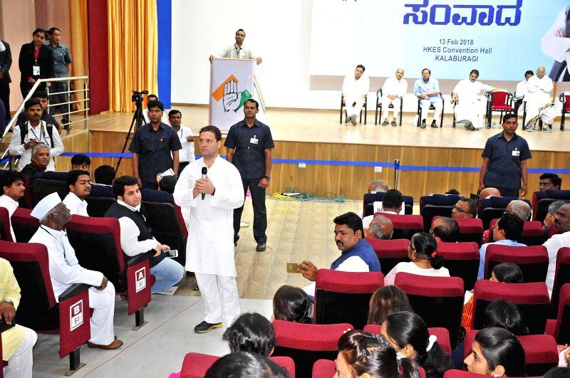 "Congress President Rahul Gandhi interacts with farmers and entrepreneurs during a ""Janashirvada Yatre"" rally in Kalburgi District, in Karnataka on Feb 13, 2018. - Rahul Gandhi"