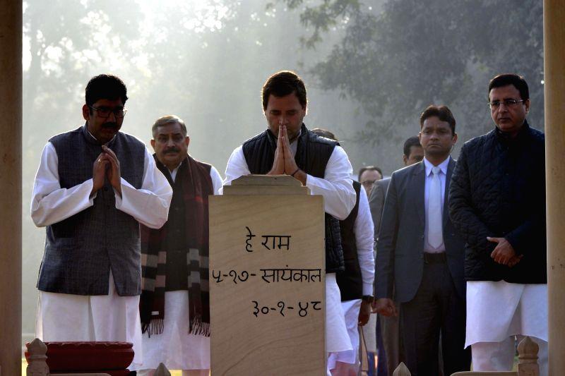 Congress President Rahul Gandhi paying tributes at Gandhi Smriti on death anniversary of Mahatma Gandhi in New Delhi on Jan. 30, 2018. - Rahul Gandhi