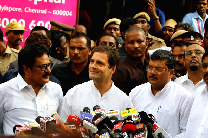 Congress President Rahul Gandhi talks to the media after meeting DMK President M. Karunanidhi at the Kauvery Hospital, in Chennai on July 31, 2018. - Rahul Gandhi