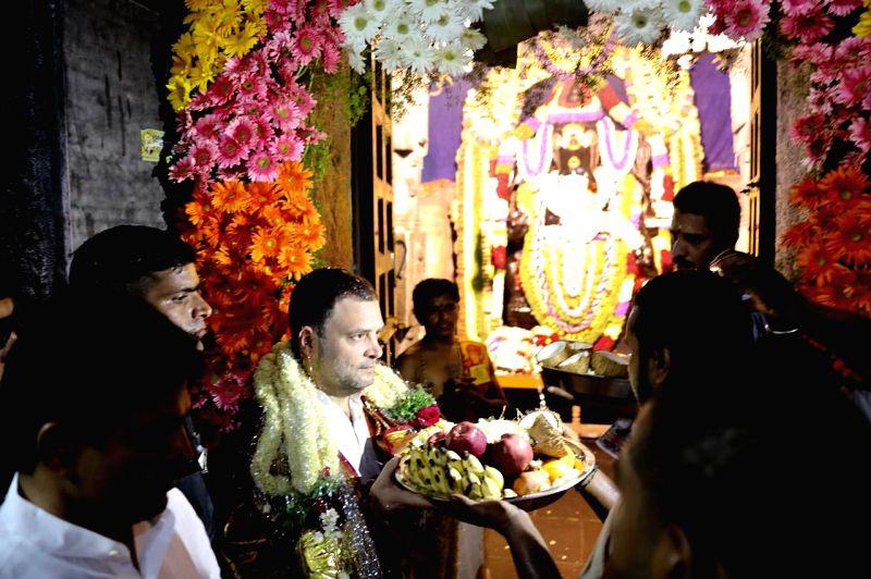 """Congress President Rahul Gandhi visits Kurudumale Ganapathi temple during """"Janashirvada Rally"""" in Karnataka's Kolar on April 7, 2018. - Rahul Gandhi"""