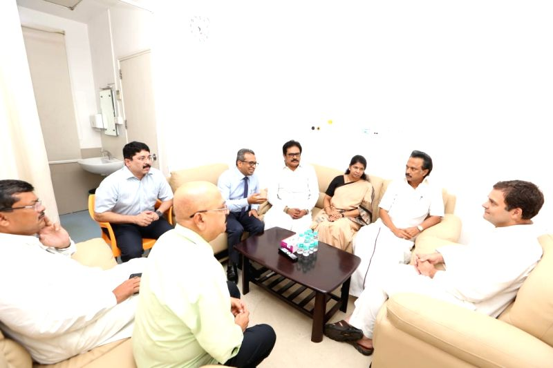 Congress President Rahul Gandhi with DMK leaders Dayanidhi Maran, M.K. Stalin and Kanimozhi during his visit to the Kauvery Hospital where DMK President M. Karunanidhi is admitted, in ... - Rahul Gandhi