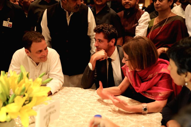 Congress President Rahul Gandhi with guests at an iftaar party hosted by him in New Delhi on June 13, 2018. - Rahul Gandhi