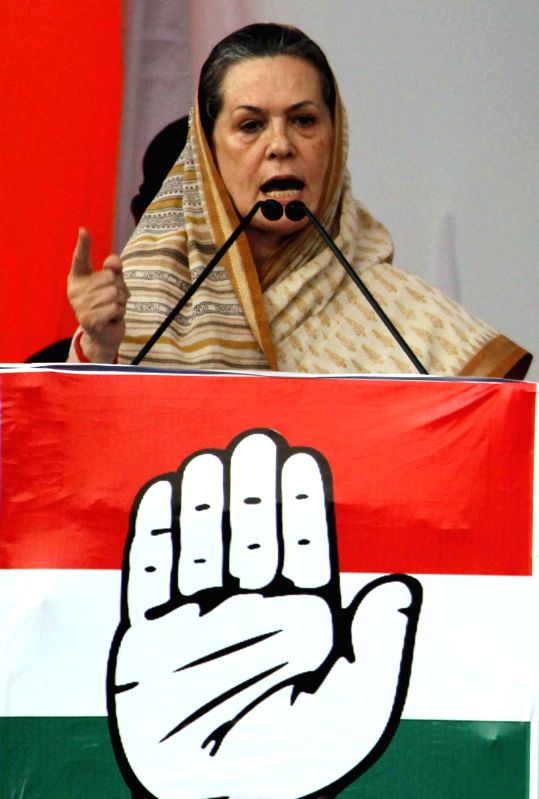 Congress President Sonia Gandhi addresses a rally in Balasore of Odisha on April 11, 2014.