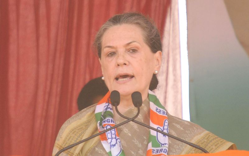 Congress president Sonia Gandhi addresses during a rally in Mysore on April 9, 2014.