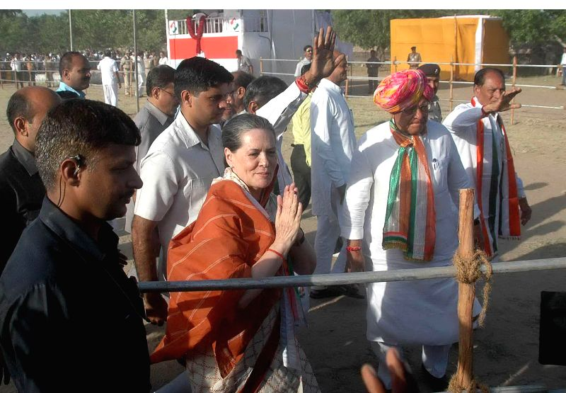 Congress president Sonia Gandhi arrives at the venue of her rally in Kheralu village of Gujarat's Mehsana district on April 24, 2014.