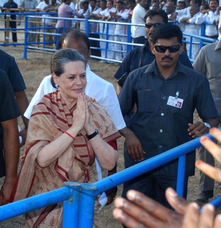 Congress president Sonia Gandhi arrives at the venue of her rally in Guntur district of Andhra Pradesh on May 2, 2014.