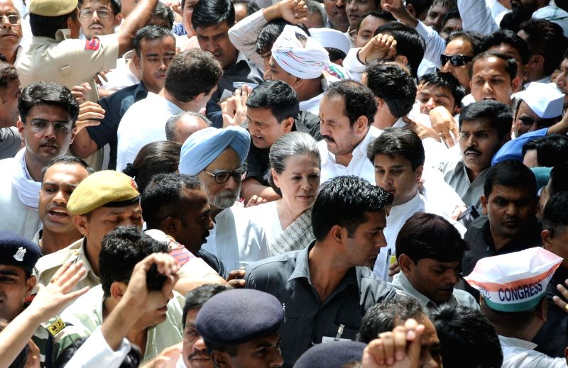 "Congress president Sonia Gandhi arrives to participate in  ""Loktantra Bachao"" rally at Jantar Mantar in New Delhi on May 6, 2016. - Sonia Gandhi"