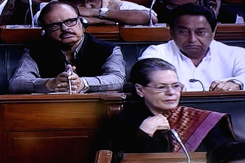 Congress president Sonia Gandhi at the Parliament House during the presentation of national budget 2015-16 on Feb. 28, 2015. - Sonia Gandhi