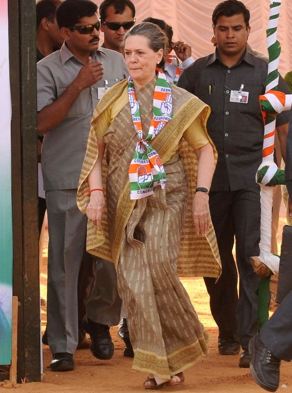 Congress president Sonia Gandhi during a rally in Mysore on April 9, 2014.